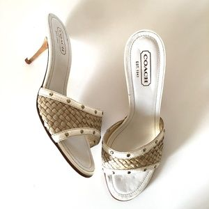COACH White Patent Leather Mule Heels